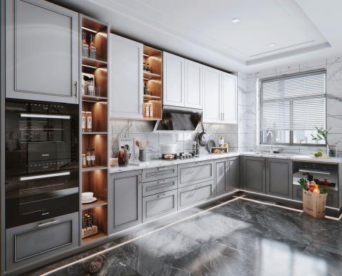 简欧风格厨房 橱柜 蒸烤箱
