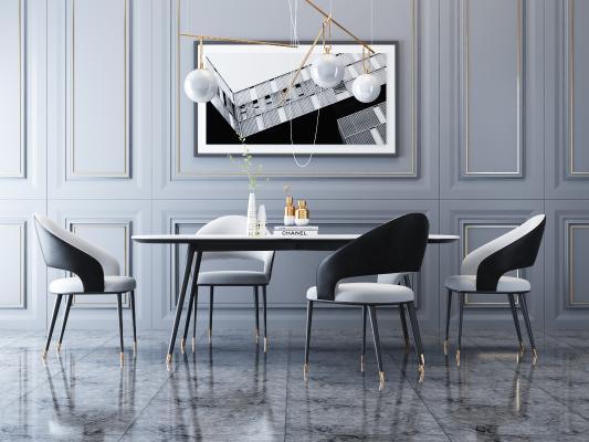 现代轻奢餐桌椅 吊灯 挂画