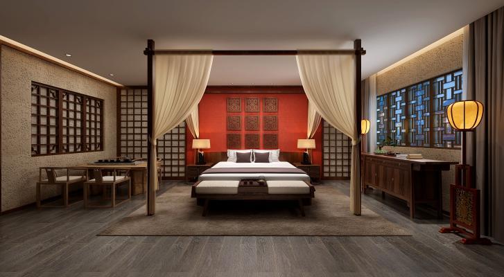 中式酒店客房组合