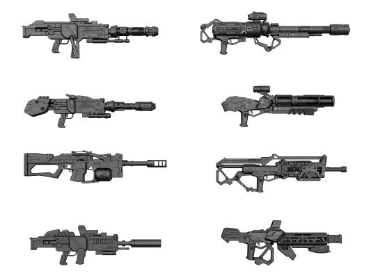现代科幻枪支 冲锋枪