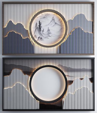 新中式山水禅意背景墙组合 背景墙 沙发背景