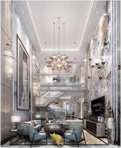 新中式复式客厅 餐厅 吊灯