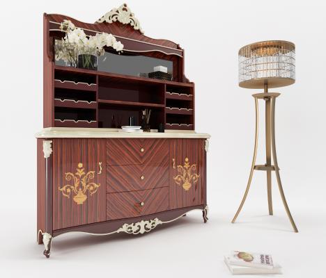 欧式餐边柜 吧台 装饰柜 餐桌 餐椅