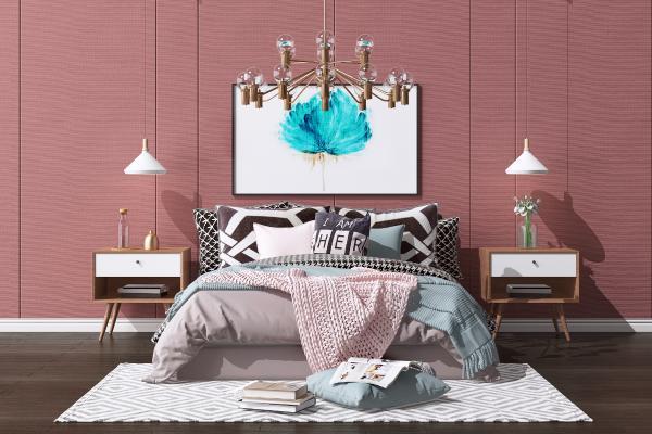 现代轻奢双人床 沙发茶几组合 水晶吊灯
