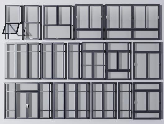 现代铝合金窗户 窗框组合