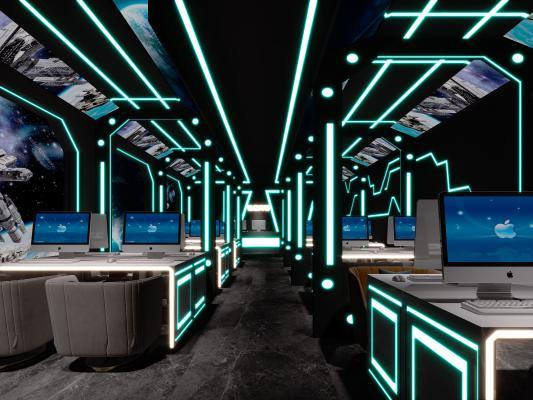 现代网咖 卡座区 桌椅组合 霓虹灯 沙发