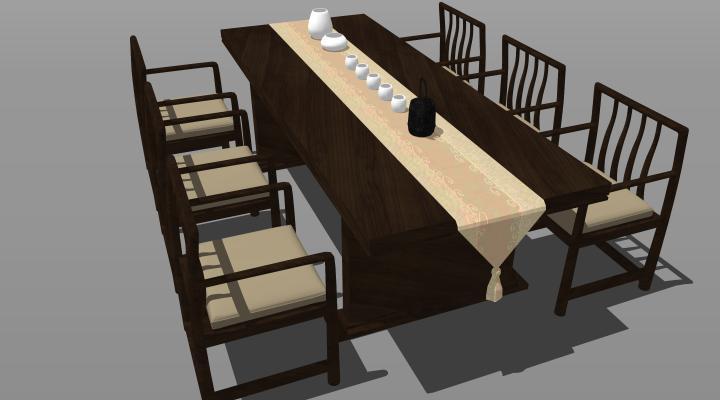 新中式风格禅意餐桌椅组合