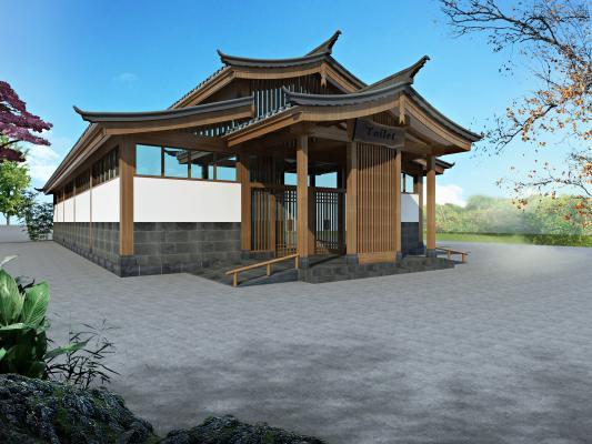 新中式公共卫生间 建筑门头