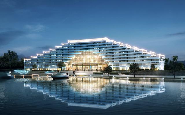 现代酒店 临湖夜景
