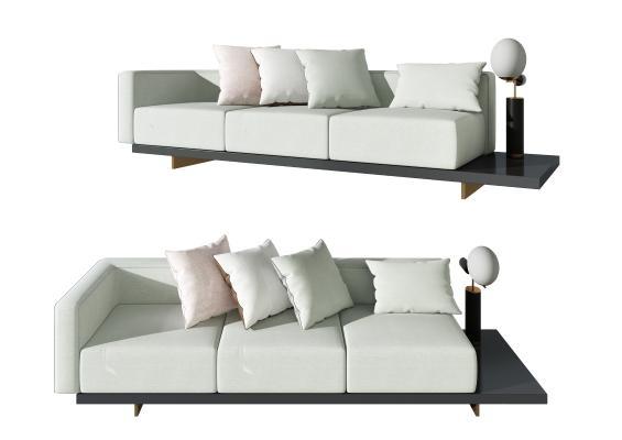 現代布藝多人沙發,創意沙發組合,家裝客餐廳沙發3d