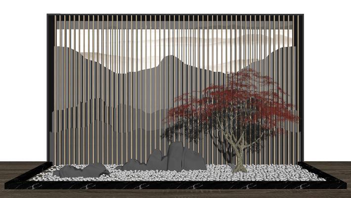 新中式山水景观背景墙