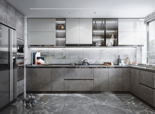 现代风格厨房 橱柜 冰箱 油烟机 灶具