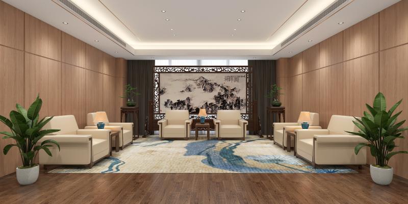 新中式接待室 沙发 茶几