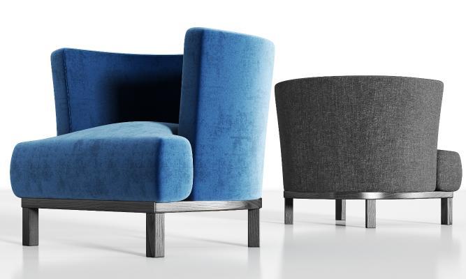 现代实木绒布单人沙发