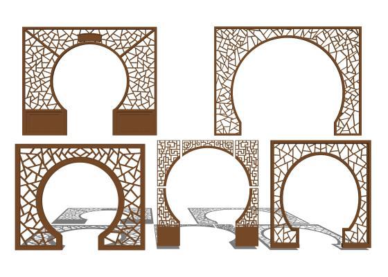 新中式实木拱门屏风门洞1