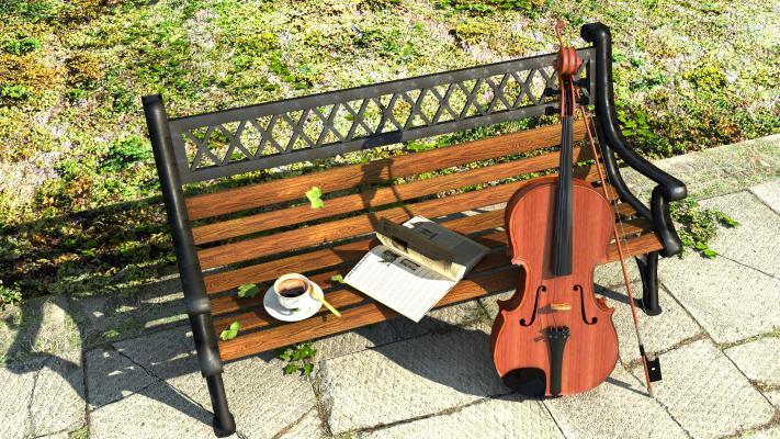 现代小提琴 咖啡 户外座椅 景观小品
