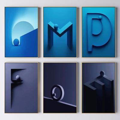 现代轻奢抽象装饰挂画 抽象装饰画 字母画