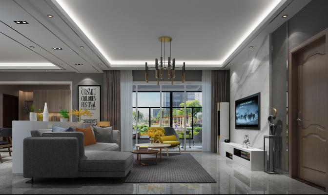 现代客厅 餐厅 沙发茶几 吊灯
