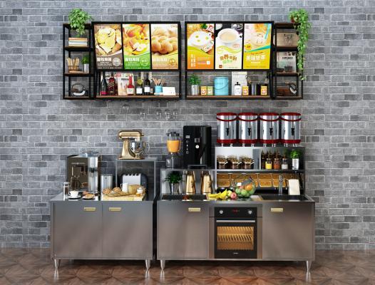 现代奶茶点心操作台 点心奶茶调料 奶茶制作工具