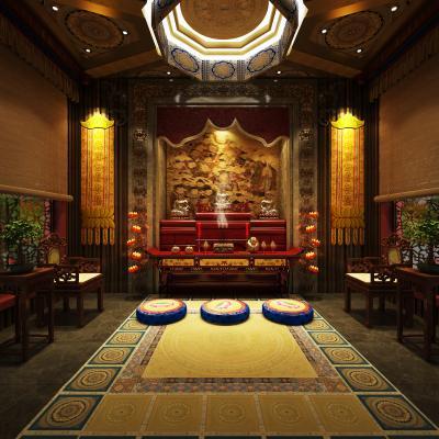 中式佛堂 佛像 香案