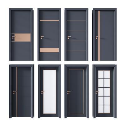 现代单开门 卧室门 厕所门 厨房门
