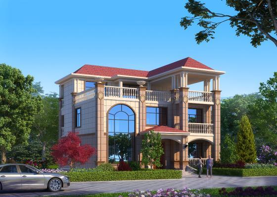 简欧别墅外观,建筑室外,外景外立面,植物灌木,汽车人物