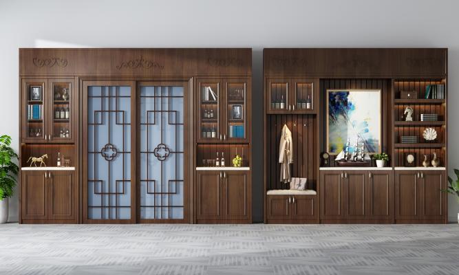 新中式鞋柜酒柜 装饰边柜
