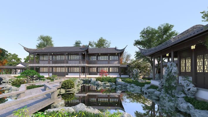 新中式古建园林景观 池塘 假山