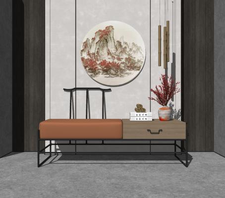 新中式玄关凳