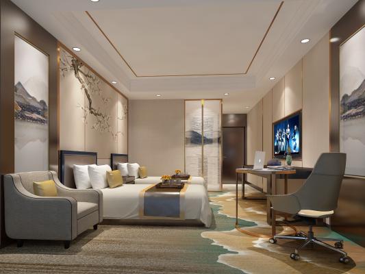 新中式酒店客房 宾馆