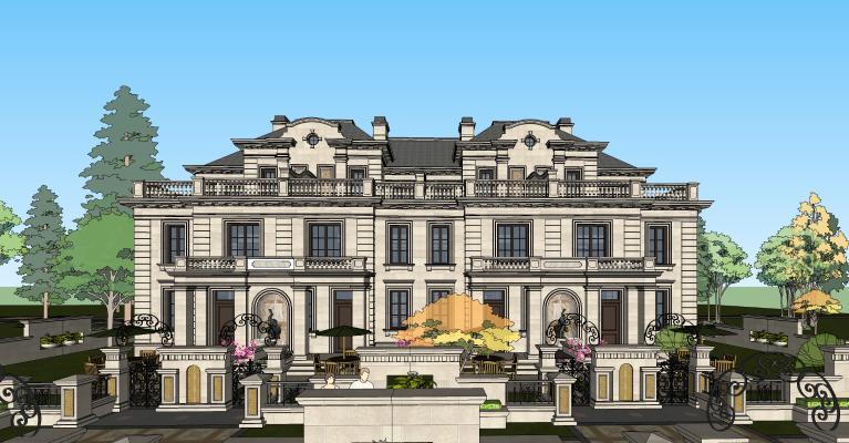 欧式双拼别墅 洋房建筑外观
