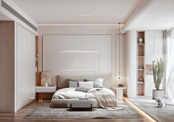 北歐家居臥室 布藝雙人床 衣柜