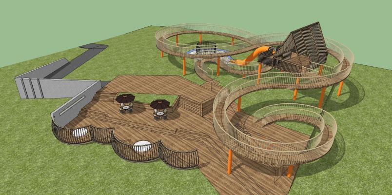 现代儿童游乐器材组合 游乐场 旋转走廊 旋转滑梯