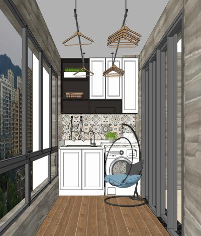 现代阳台 洗衣柜
