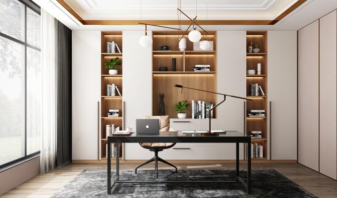 现代轻奢书房 吊灯 书柜