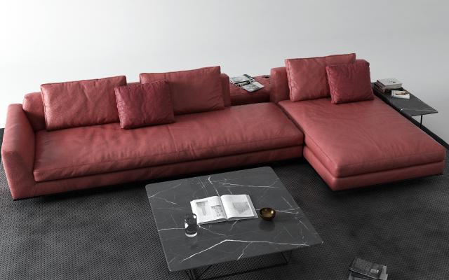 现代皮革转角沙发