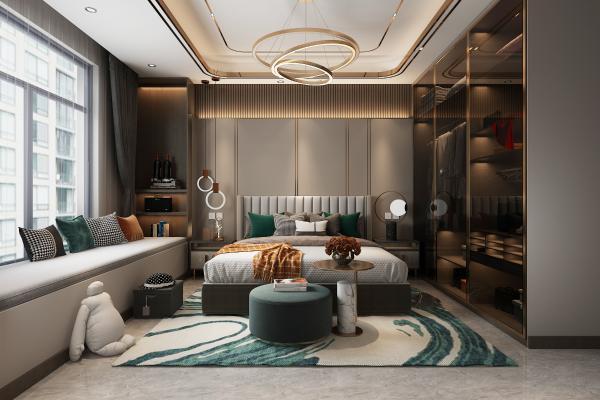 现代简约卧室 吊灯 双人床