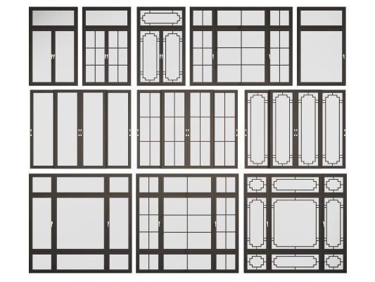 新中式窗户 推拉窗 滑窗组合