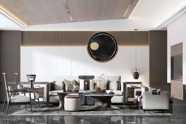 新中式客厅 沙发组合 吊灯 床尾凳 椅子 茶几 背景墙
