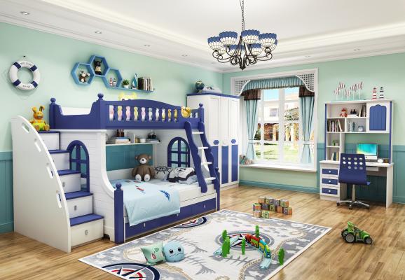 地中海卧室儿童上下床