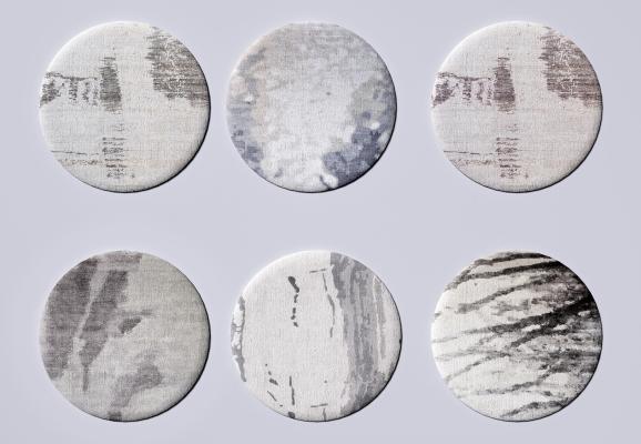 现代圆形布艺地毯 图案地毯 布艺地毯