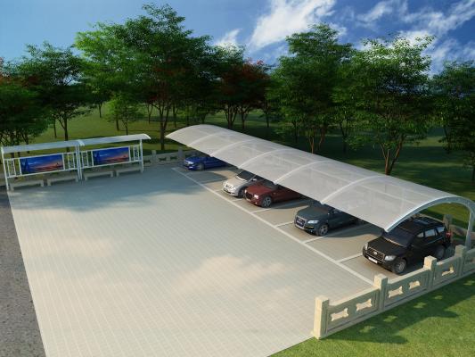 现代车棚 覆膜车棚 停车场