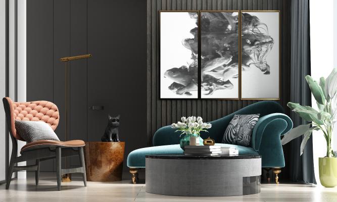 现代轻奢绒布贵妃椅 单椅茶几 饰品组合
