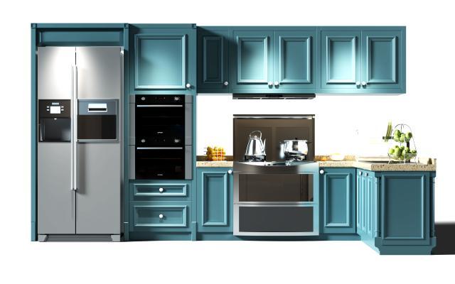 歐式簡約廚房櫥柜 冰箱 廚具