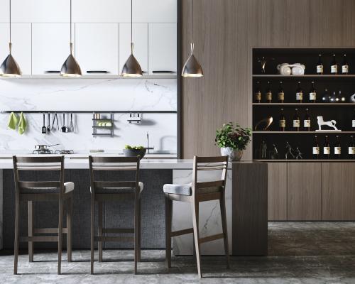 现代厨房 吧台吧椅组合