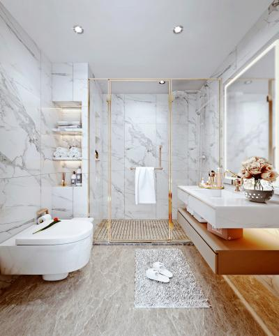 现代轻奢卫生间 浴室柜 马桶
