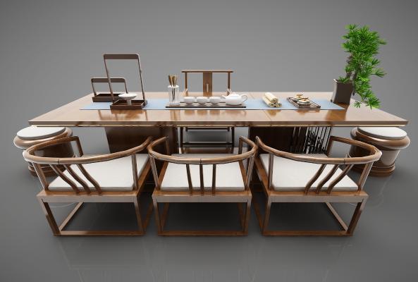 新中式风格休闲茶桌椅
