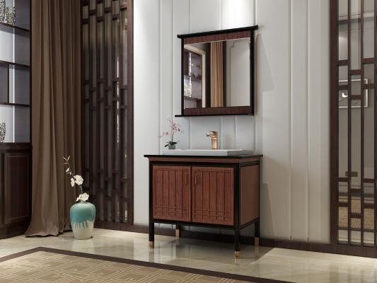 新中式风格浴室柜 实木浴室柜