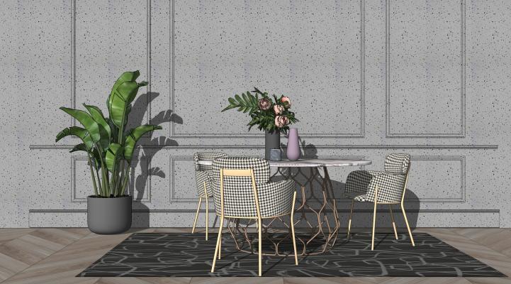 北欧餐厅 餐桌椅 绿植