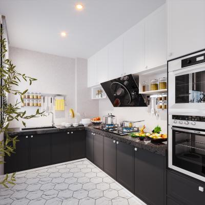 现代风格厨房 盆栽 橱柜 烤箱